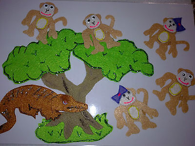 Felt Story Educational Teacher Resource - 5 Cheecky Monkeys Sitting In A Tree