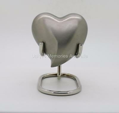 Solid Brass Brushed Silver Heart Cremation Memorial Keepsake Funeral Ashes Urn