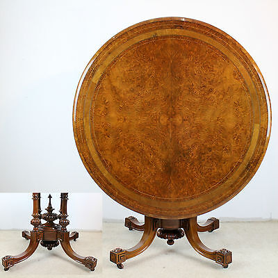 Victorian Burr Walnut Inlaid Circular Loo/Centre/Dining Table -4ft/48in diameter
