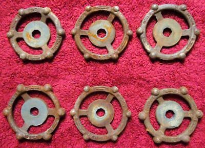 Lot Of 6 Industrial Machine Age Cast Iron Water Valve Handles Steampunk Lot #2