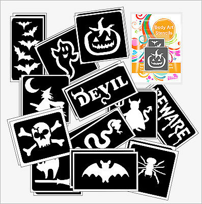 Pack of 24 HALLOWEEN GLITTER TATTOO STENCILS for Glitter and Ink Body Art
