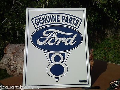 GENUINE FORD PARTS Rustic Collectible Tin Metal Classic Sign Poster Garage