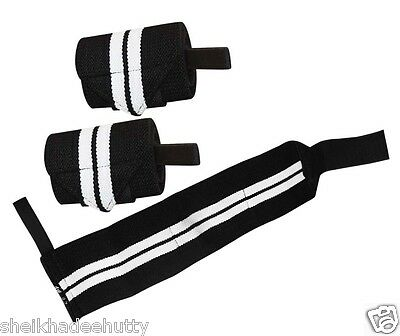 """Powerlifting Pro Wrist Support Cotton Thumb Loop Wraps Pair 12"""""""
