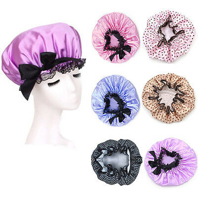 Hot New Sweet 1X Womens Satin Shower Cap Waterproof Bathing Spa Hat Cap
