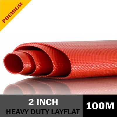"""New 2"""" Inch RED PVC Layflat Hose HEAVY DUTY Lay Flat Discharge Hose 150PSI 100m"""
