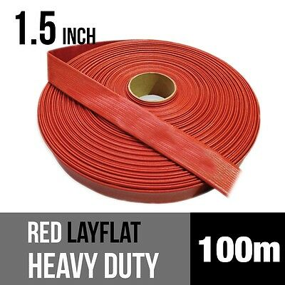 New 1.5 Inch RED PVC Layflat Hose HEAVY DUTY Lay Flat Discharge Hose 150PSI 100m