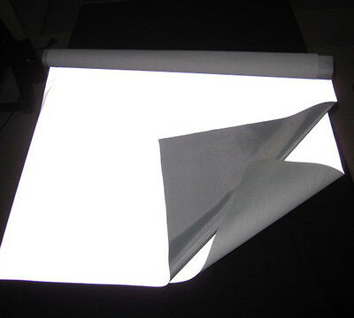 "5m SILVER REFLECTIVE FABRIC sew Silver Black on material 3'x39"" 1Mx1M CCC-3M-TU"