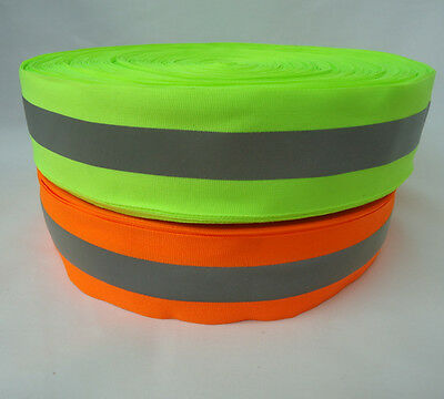 5-50m Silver Reflective Tape Strip Sew-On lime Orange Fabric Safty Vest,Width 2""