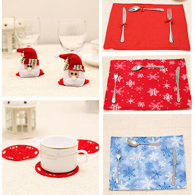 Table Mats Christmas Tablecloth Cup Placemats Pads Coaster Table Decoration Home