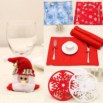 Christmas Tablecloth Table Mat Cup Placemat Pad Coaster Table Decoration Kitchen