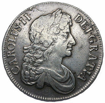 1673 Crown - Charles Ii British Silver Coin - V Nice
