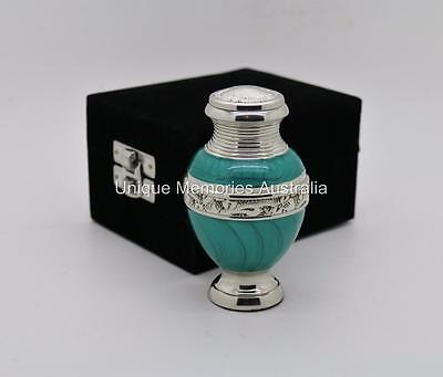 "3"" Solid Green Turquoise Cremation Memorial Keepsake Cinerary Ashes Urn +Case"