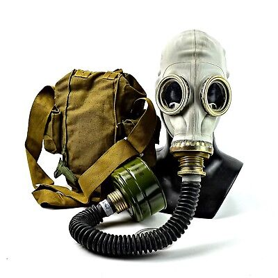 Soviet russian military Gas mask GP-5 with hose. grey rubber new full set.