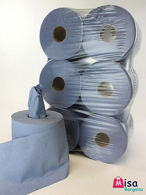 12 Blue Rolls Centrefeed Embossed 2ply Wiper Paper Towel 400 Sheets Per Roll 85m