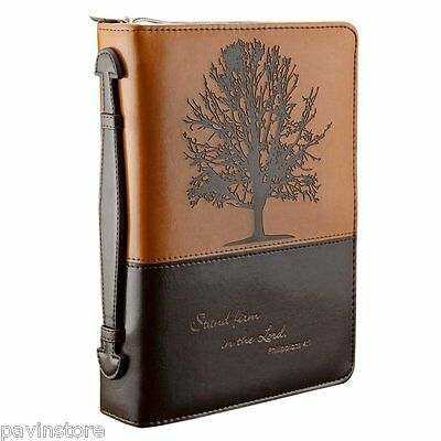 Two Tone Medium Bible Book Cover Engraved Zipper Faux Leather Church Travel