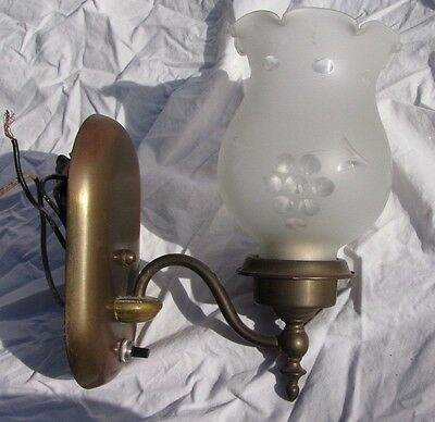 Antique Brass Wall Sconce with Tulip Glass Shade