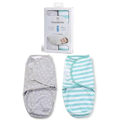 Summer Infant SwaddleMe Baby Swaddle 2 Pk Grey Anchor/ Teal Stripe Small 7-14lb