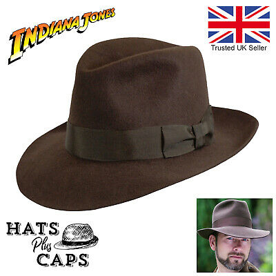 Indiana Jones Fedora Brown 100% Wool Felt Mens Denton's Hat Adventurer Poet