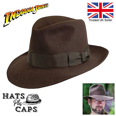 Indiana Jones Fedora  Brown 100% Wool Felt Mens Hat