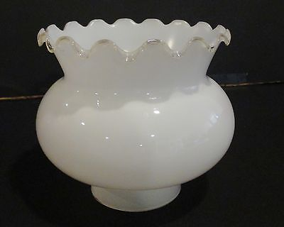 """Vintage White Milk Glass Silver Crest Ruffled Lamp Ceiling Gas Shade  3"""" Fitter"""