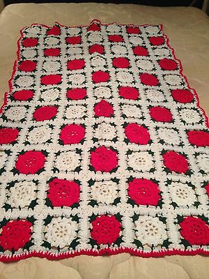 Crocheted (Granny Square) Red, Green, & White Afghan