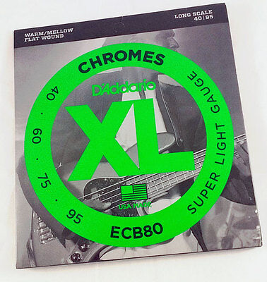 D'Addario ECB80 Chromes Flatwounds Flat Long Scale Electric Bass 4 Strings 40-95