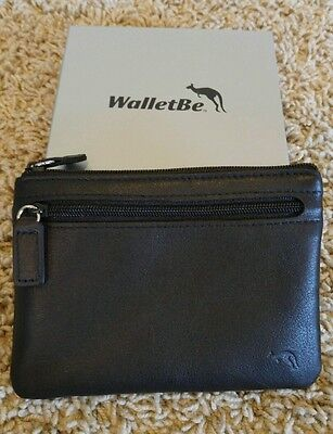 WalletBe black leather zippered coin/credit card pouch