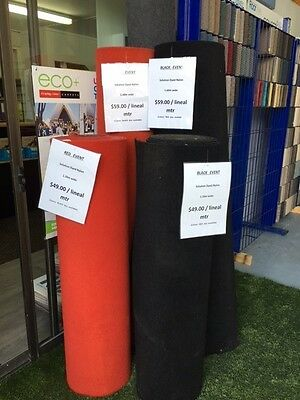 CARPET FOR EVENTS - RED OR BLACK  - 120cm wide  &  160cm wide. COLLECT ONLY.