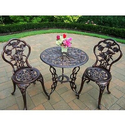 Patio Set Bristo Table Chairs Antique Bronze Outdoor Furniture Wrought Iron