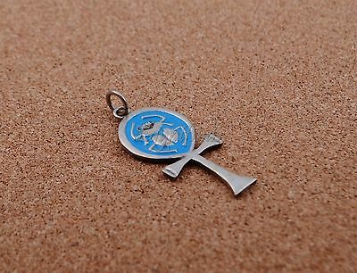 Lrg Egyptian Hand Made Sterling Silver enameled Ankh Life Key With Scarab Charm