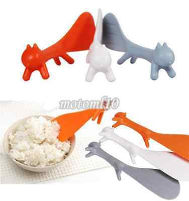 2X Home Kitchen Gadget Squirrel Shape Holder Rice Scoop Spoon Paddle Scoop Ladle