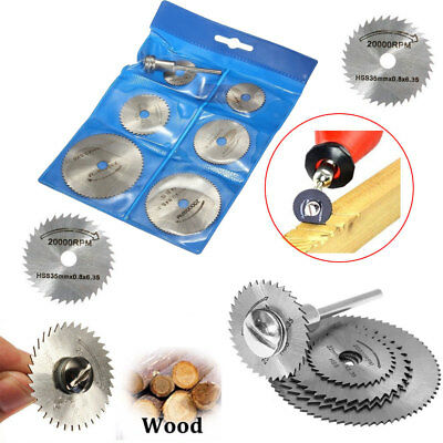 6pcs HSS Rotary Saw Blades For Metal Dremel Tool Cutting Discs Wheel + Mandrel