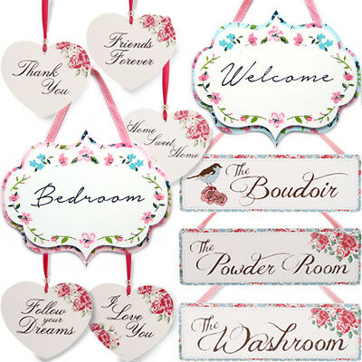 POSIES WOODEN HANGING / Home Rose Heart Flower Hanger Floral Plaque Sign Gift