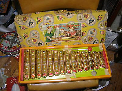Rare Vintage Metalic Tin Music Xylophone T-14 Toy Original Box