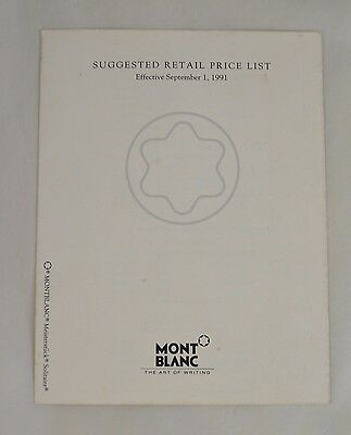 Montblanc Pen and Accessory Dealer Price List Vintage 1991 Tri-Fold PLM16269-991