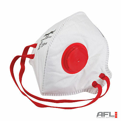 10 Pack FFP3 Respirator Fold Flat Valved Safety Face Dust Masks - 50x Protection
