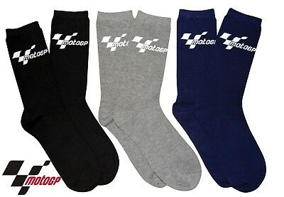 New 3-Pack Official Moto Gp Socks Adult Size Black Blue Grey Multi Pack
