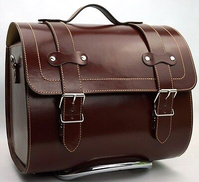 LARGE Leather Top Box Case Roll Bag Vespa Primavera PX LXV GTS GTV Vintage Brown