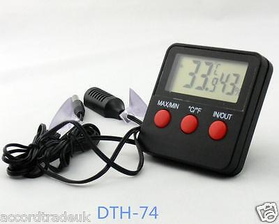 Digital Thermometer &Hygrometer Combined Gauge With Remote Probe Indoor Outdoor