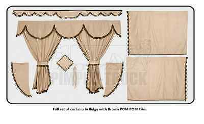 TRUCK CURTAINS SCANIA Beige Full set of lined curtains (PomPom trim)