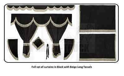 TRUCK CURTAINS SCANIA Black Full set of lined curtains (long tassels)
