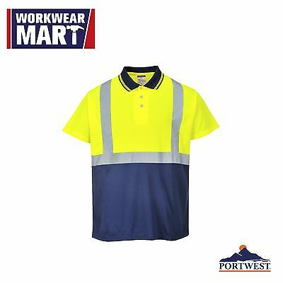 Hi-Vis Safety Workwear Short Sleeve Polo Shirt Reflective Tape, NEW M-3XL, S479