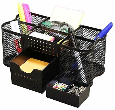 Fasmov mesh desk organizer 6 compartment office supply - Black mesh desk organizer ...
