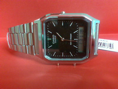 Casio Aq230A-1D Mens Analog Digital Watch Dual Time Alarm Watch Stainless Steel