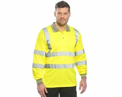 Hi-Vis Polo Shirt Long Sleeve Work Reflective Tape Safety, Portwest S277