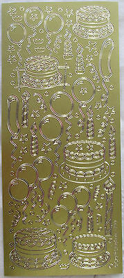 Birthday Cakes Balloons Gold Peel Off Stickers Cardmaking Scrapbooking