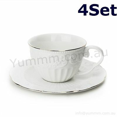 4x Set 8pc French Style Vintage White Porcelain Coffee Cup and Saucer Hight Tea
