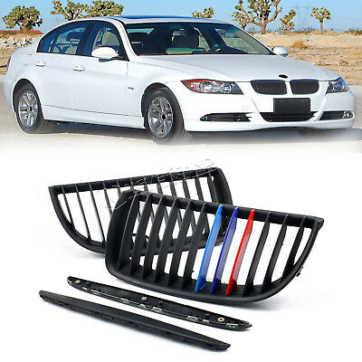 2X M Style Matte Black Kidney Grill For 2004-2007 BMW E90 Sedan Wagon 320i Sport