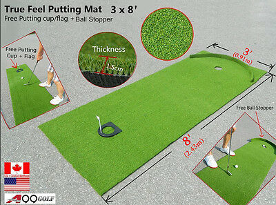 A99 Golf True Feel Putting Mat (3' X 8') - Including Putting Cup + Ball Stopper