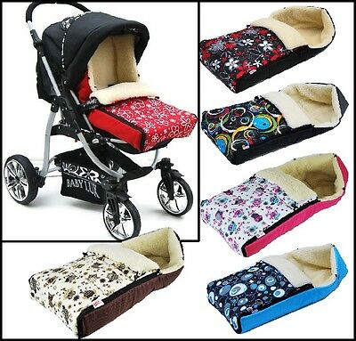 BABY COSY SHEEP WOOL FOOTMUFF 90cm FITS ALL PRAMS STROLLERS CAR SEATS 7 COLOURS